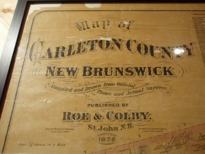 Map of Carleton County, New Brunswick, 1876.  Photo credit: Joan Miller