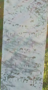 Inscription reads: IRA MILLER Died Oct 27 1900 Aged 74 years.  LUCY A. His Wife Died Nov 20 1907 Aged 67 years