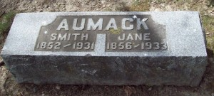 Gravestone Smith and Jane Aumack, Eau Claire, Michigan